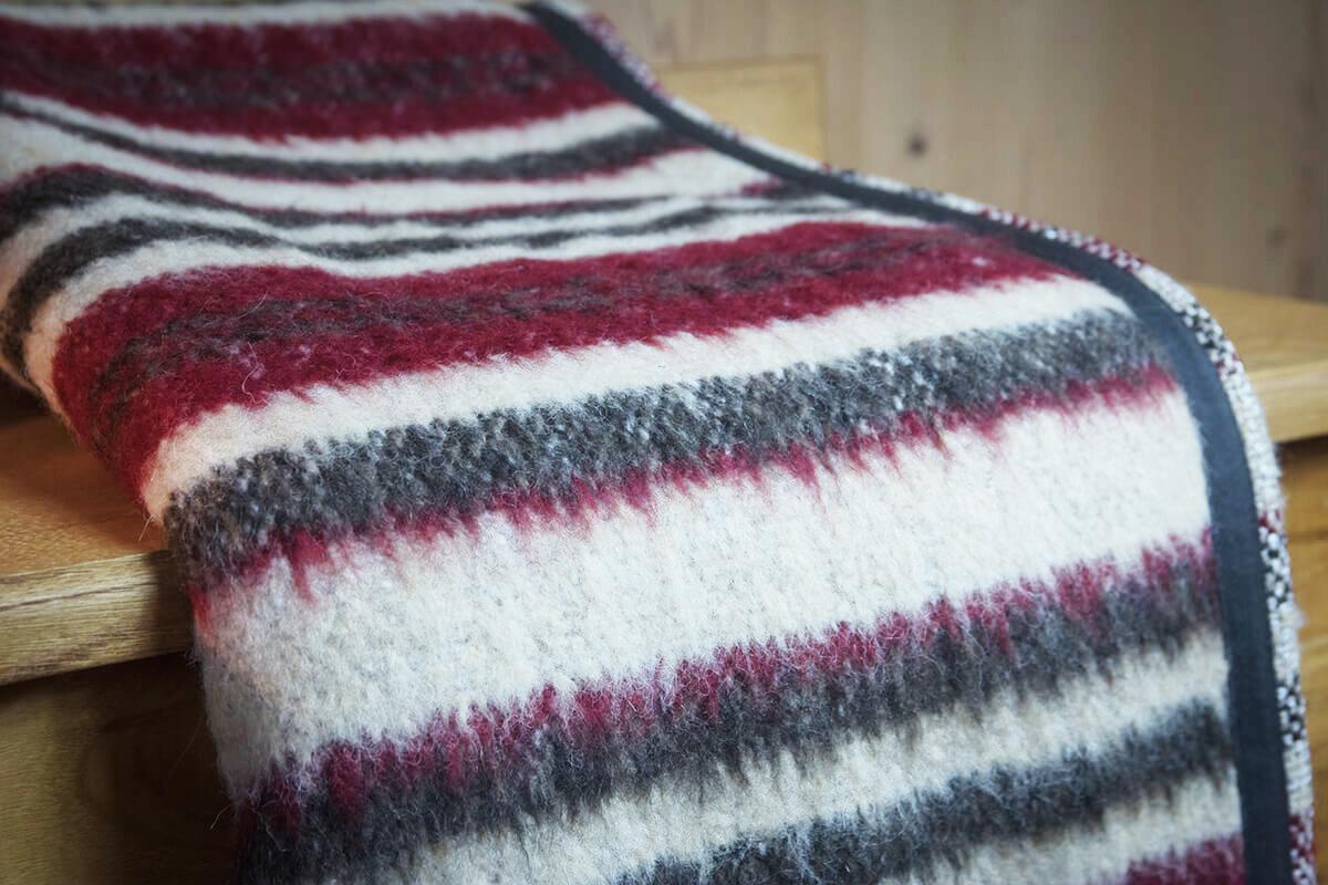 Coperta lana-lino riga indiana - Altitudo Srl